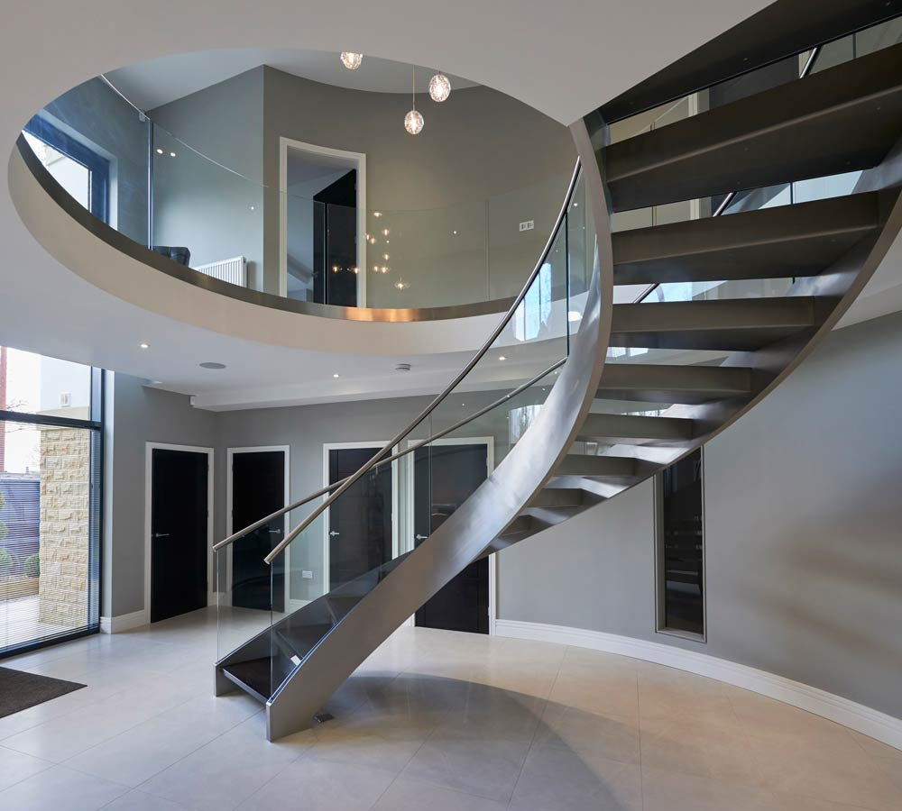 Glass and Steel Curved Stairs